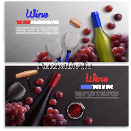 wine realistic horizontal banners with advertising