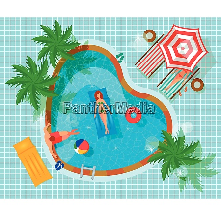swimming pool top view with human