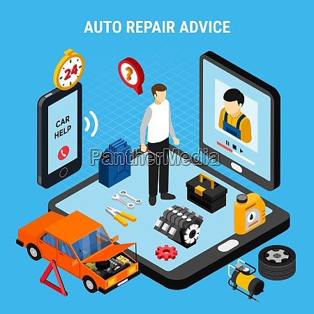 auto repair advice isometric concept with