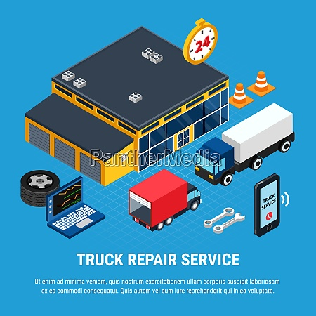 truck repair service isometric concept with