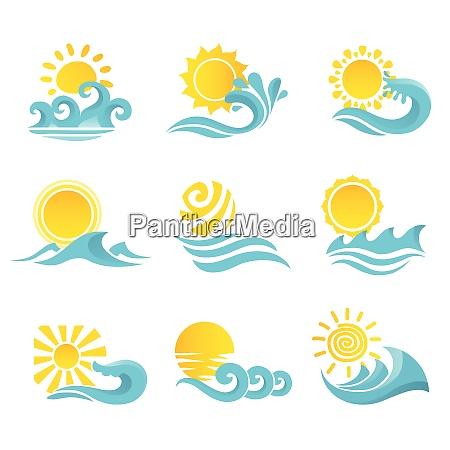 waves flowing water sea ocean icons
