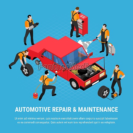 automotive repair isometric concept with maintenance