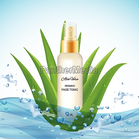aloe vera background with water waves