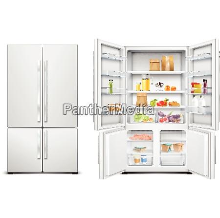 refrigerator fridge realistic set of big