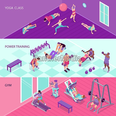 horizontal fitness banners set with people