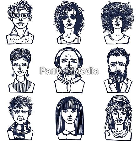 sketch grunge males and females people