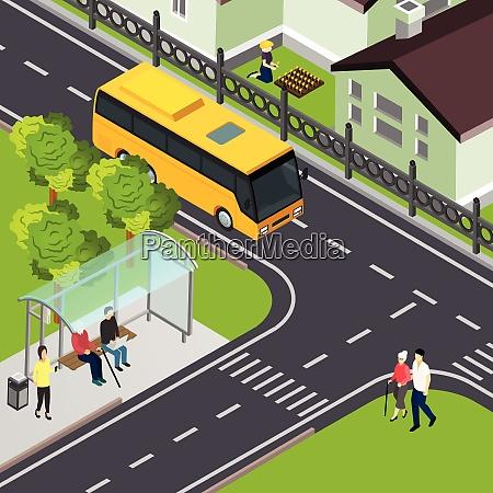 pensioner waiting public transport and elderly