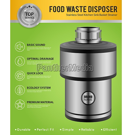 realistic food waste disposer of stainless