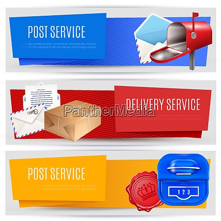 realistic post mailbox letter banners set