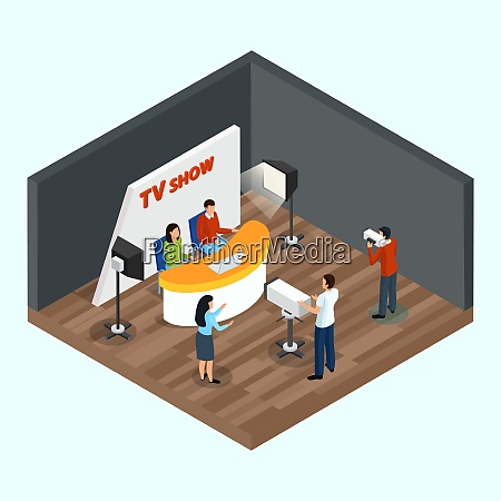 isometric quiz tv show indoor composition