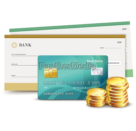 realistic credit card check and coins