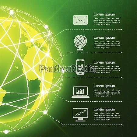 network globe green sphere earth map