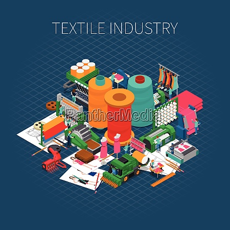 textile industry isometric composition with editable