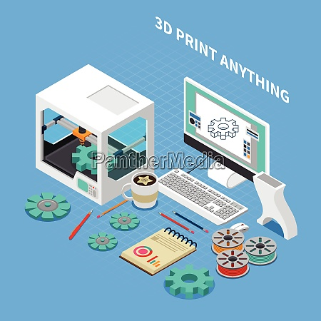 printing industry isometric composition with images