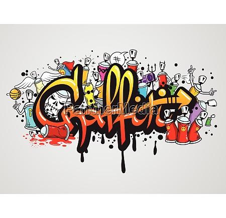 decorative graffiti art spray paint letters