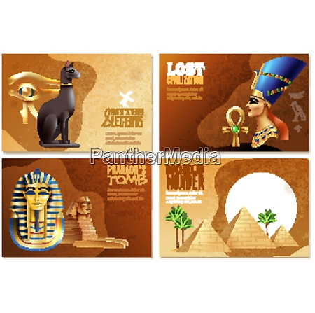 egypt banners set of pharaohs tomb