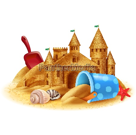 sand castle construction realistic background with