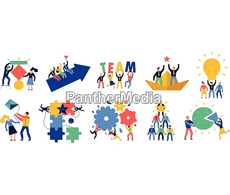 teamwork icons set with ideas and