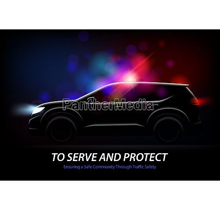 realistic police car lights with profile