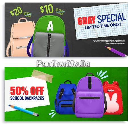 set of two realistic school backpack
