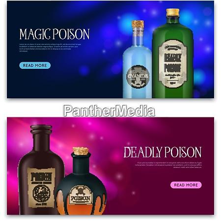 realistic poison set of two horizontal
