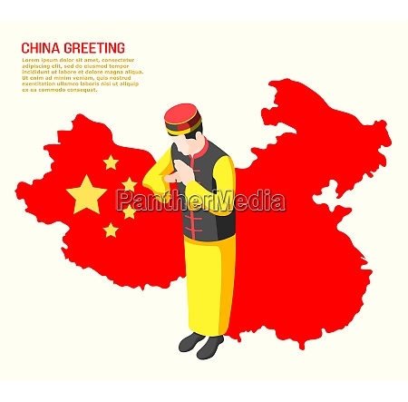 isometric background with man from china