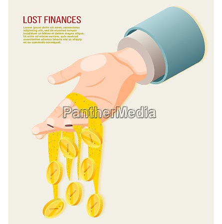 lost finances isometric concept with coins