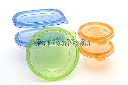 stack of food plastic containers isolated