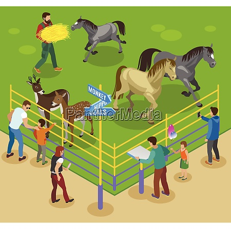 contact zoo isometric composition with horses