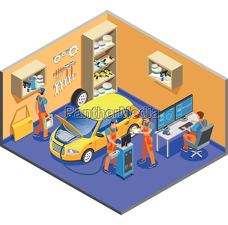 auto service isometric composition with diagnostics