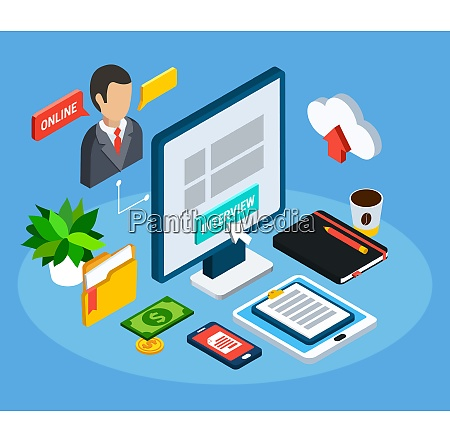 business people isometric composition of isolated