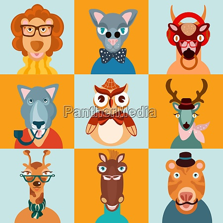 hipster trendy dressed wild animals in