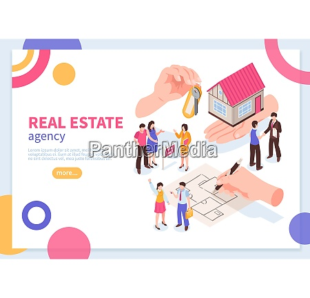 real estate agency isometric concept of