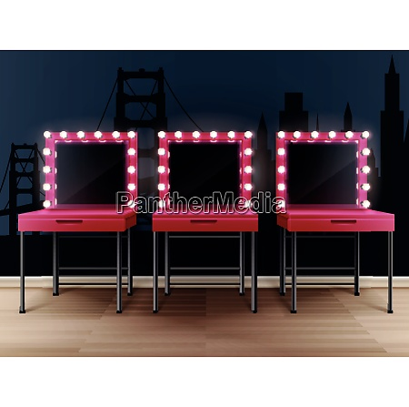 three pink makeup mirrors with tables