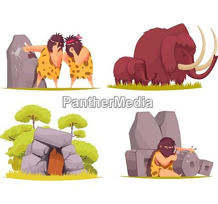 caveman 2x2 design concept set of