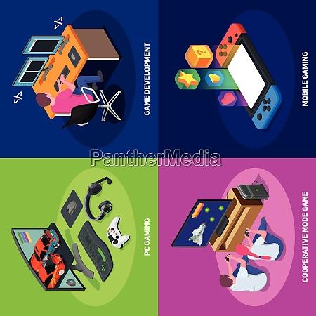 gaming development 2x2 design concept set
