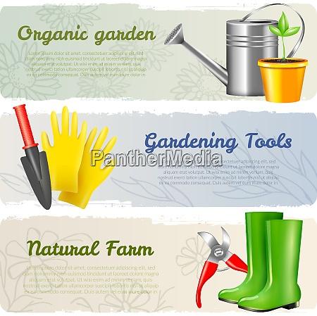 set of three realistic garden tool