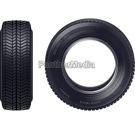 set of realistic new car tires