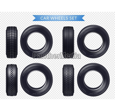 set of realistic car tires with
