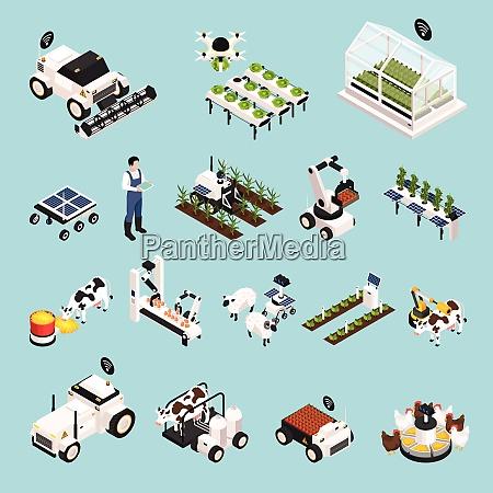 smart farm set with technology symbols