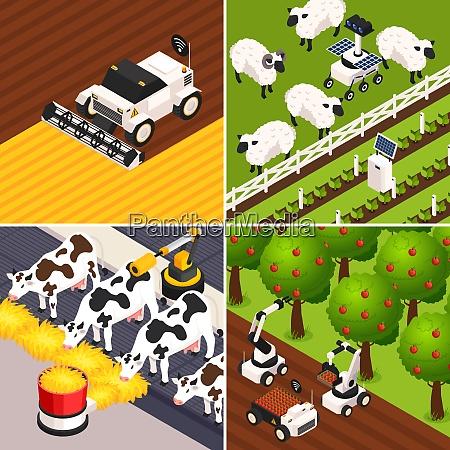 smart farm concept icons set with