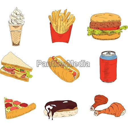 set of sketch doodles hamburger hot