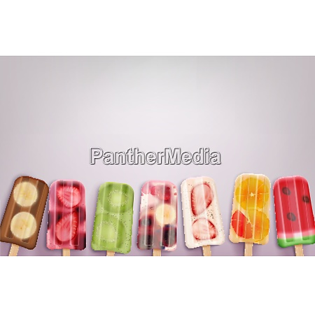 fruit popsicles ice cream realistic background