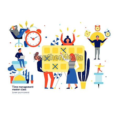 time management tips symbols flat elements