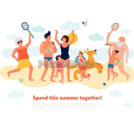 family summer vacation flat composition with
