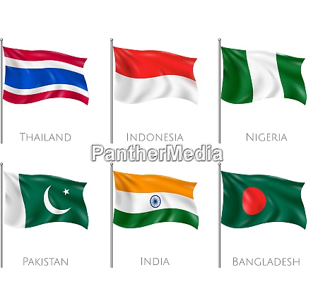 national flags set with thailand and