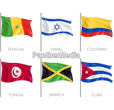 country flags set with senegal and