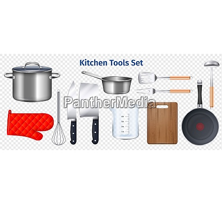 kitchen utensils transparent set with chopping