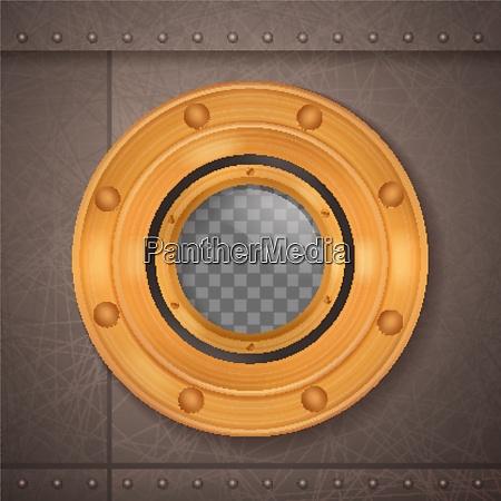 gold porthole 3d realistic composition porthole