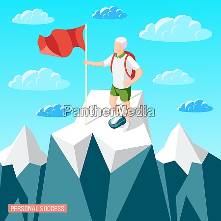 personal success concept isometric background with